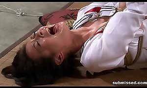 Oriental menial is hogtied, electro tortured and sex-toy punished