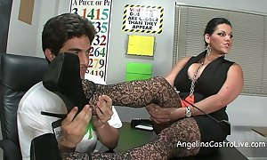 Well-endowed angelina castro threeway footfetish bj in class!